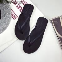 坡跟厚底人字拖女夏防滑时尚外穿凉拖鞋学生简约沙滩鞋潮
