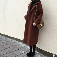欧美秋冬新款女装毛呢外套女中长款韩版大码宽松羊毛呢子大衣