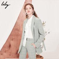 Lily2018秋新款女装时尚通勤格纹西装绿色宽松西装118140C2202