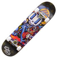 滑板青春骷髅僵尸四轮滑板 刷街公路儿童滑板车男女双翘长板 天 闪光轮