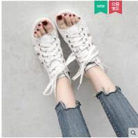 系带凉鞋小白鞋女平底新款ins时尚百搭欧洲站罗马鞋子潮