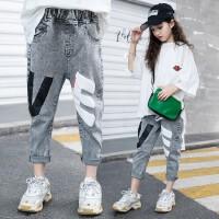 女童牛仔裤春装儿童T恤2020新款小女孩裤子两件套童装