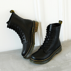 【满200减100】【毅雅】时尚休闲低跟帅气系带马丁靴短靴女靴子 YM7WJ7937