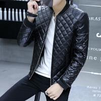 冬季加厚PU皮棉衣男装韩版潮流修身立领皮棉服发型师保暖时尚棉袄