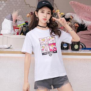 【多色可选】宽松时尚短袖T恤女2018夏季新款韩版学院风时尚百搭短袖T恤衬衫上衣