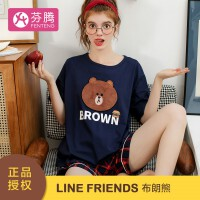 芬腾 睡衣情侣 LINEFRIENDS正版授权19年夏季新品linefriends布朗熊IP款纯棉圆领套头短袖家居服套