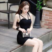 夜店女装夏季性感时尚欧美风修身吊带连衣裙紧身包臀夜场工作制服
