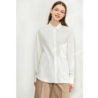 【到手价:105元】Amii极简小众设计人棉衬衫女2020夏新款翻领长袖宽松落肩袖上衣