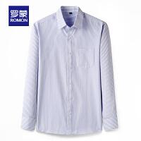 【618狂欢1折起】罗蒙商务条纹长袖衬衫男2021中青年春季新款休闲百搭职业工装衬衣