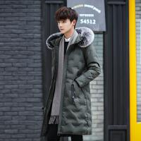 羽绒服男冬装韩版修身真毛领连帽加厚保暖学生外套加大码加肥