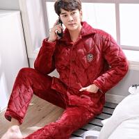 珊瑚绒夹棉睡衣秋冬男长袖法兰绒睡衣三层加厚保暖卡通家居服套装