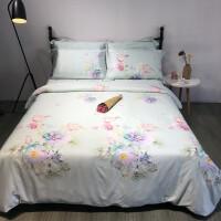 家纺双面天丝四件套夏季凉冰丝床上四件套丝滑裸睡 乳白色 主图花样每季绿