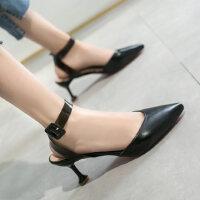 户外凉鞋女包头仙女风时尚细跟尖头一字带时尚性感百搭高跟鞋