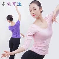 舞蹈练功服女芭蕾舞上衣考级基训修身短袖黑白形体瑜伽古典服