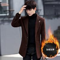 2017新款男士风衣韩版修身冬季毛呢大衣男中长款英伦风妮子外套男