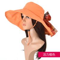 防晒帽子女夏天韩版潮大沿太阳帽韩国户外女士沙滩遮阳帽 均码(56-58cm)