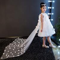 女童红色钢琴蓬蓬裙演出服 新款儿童礼服公主裙花童拖尾婚纱晚礼服