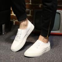 秋季乐福鞋男厚底韩版潮流小白鞋英伦休闲皮鞋男士懒人鞋白色板鞋