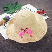 儿童草帽夏天大沿可折叠遮阳帽女童沙滩帽韩版度假潮宝宝帽子防晒