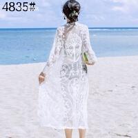 马代普吉岛海边沙滩度假性感长款蕾丝镂空比基尼泳衣外搭外罩衫 4835白色 均码