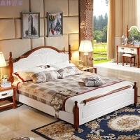 实木床家具床单人1.5公主1.8米床头高箱大双人白色地中海床