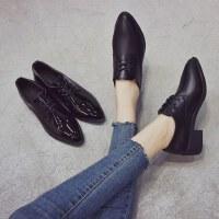 户外小皮鞋女英伦风时尚韩版百搭尖头粗跟学院风女鞋单鞋