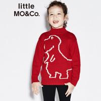 littlemoco春季新品男女童针织毛衣小恐龙图案长袖儿童毛织上衣