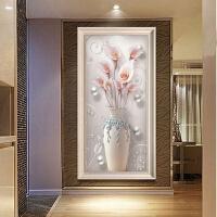 玄关装饰画欧式客厅油画竖版走廊过道挂画客厅餐厅书房壁画富贵花