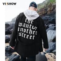 VIISHOW2017秋装新品长袖衬衫男纯棉猫须洗白文字印花男士衬衣