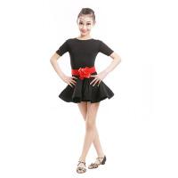 儿童拉丁舞裙练功演出服装短袖少儿女童拉丁舞蹈比赛表演服装