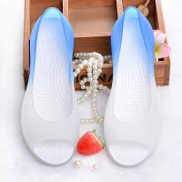 凉鞋女夏韩版塑料鱼嘴果冻鞋学生平底坡跟户外洞洞沙滩鞋 36 偏小