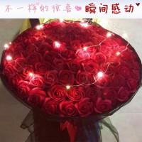 99朵仿真玫瑰花香皂花礼盒女王情人节生日礼物创意求婚永生假花束