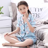 儿童睡衣夏季女童短袖短裤薄款空调服女孩宝宝家居服套装