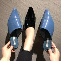 外穿低跟居家拖鞋女 时尚包头半拖鞋子女 英伦风女士单鞋新款尖头穆勒鞋