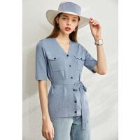 【到手价:161元】Amii极简法式毛针织衫女2020春季新款V领开衫配腰带休闲短袖上衣