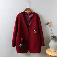 K9呢子大衣中长款加厚韩版冬 刺绣学生妮子格子毛呢外套女1.0