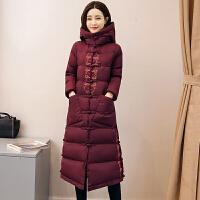 冬装新款中国风刺绣棉衣外套女中长款民族风唐装过膝棉袄