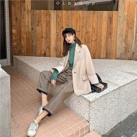 七格格呢子大衣女中长款2019新款冬季韩版宽松西装领长袖毛呢外套