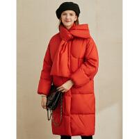 【到手价:680元】Amii极简时尚白鸭绒羽绒服2019冬季新款宽松保暖围巾领长款面包服