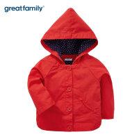 歌瑞家婴儿衣服可脱卸外套红色2017秋新款女小童长袖连帽上衣乐友
