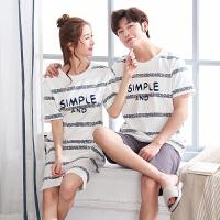 夏季情侣睡衣短袖短裤纯棉薄款两件套装男女士家居服长裤韩版睡裙