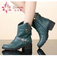 达芙妮女鞋冬季女靴休闲铆钉装饰皮带扣骑士马丁靴