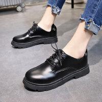 韩版百搭ulzzang学生单鞋 女士复古英伦风小皮鞋 ins潮次年卡系带黑色皮鞋