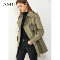 【券后�A估�r:208元】Amii英���赓|流行�L衣外套女2020秋季新款�p排扣小��子中�L款大衣