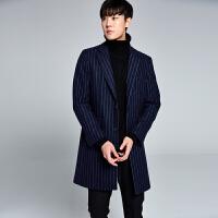 秋冬季韩版修身羊毛毛呢大衣男士中长款风衣条纹呢子外套妮子大衣