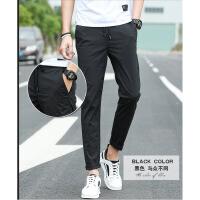 男裤子韩版潮流系带长裤纯色冰丝透气超薄款青少年宽松休闲裤