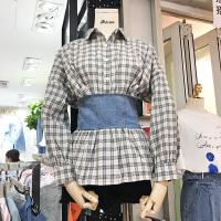 韩国ulzzang2018春装新款时尚绑带束腰显瘦衬衫女长袖格子衬衣潮