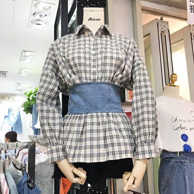 韩国ulzzang2018春装新款时尚绑带束腰显瘦衬衫女长袖格子衬衣潮 发货周期:一般在付款后2-90天左右发货,具体发货时间请以与客服协商的时间为准