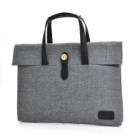 韩版简约复古商务公文包OL简约帆布手提包男女14寸笔记本电脑包