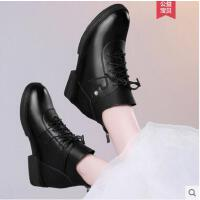 雅诗莱雅新款百搭秋冬季内增高女鞋复古马丁靴系带平底女靴子坡跟短靴